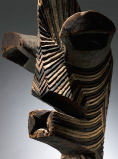 Africa | 'Kifwebe' mask from the Songye people of DR Congo | Wood and pigment