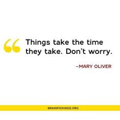 Things take the time they take. Don't worry.