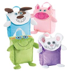 """Tiny Tillia Bath Bag Bath toys get a plush new home with these soft and sweet 9"""" H x 7"""" W x 4"""" D bath bags. Nylon lining with mesh outer pocket for quicker drying. Incredibly soft and plush. Hook for easy hanging, and mesh pocket for drip-drying."""
