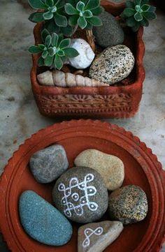 Succulents & painted stones-2