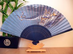 Japanese/Chinese Dragon Black Silk Hand Fan,New,Gift