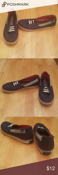 Blue Keds, Slip-ons Blue Slipons with red and white accents. Only worn a couple of times. Still like new. Keds Shoes Flats & Loafers