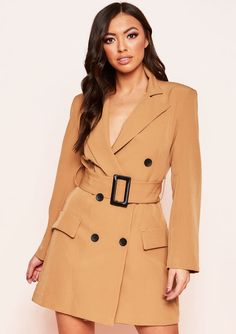 5346450088a4 Leandra Camel Belted Blazer Dress. Missyempire ...