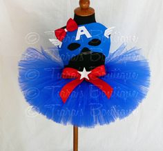 "Girls Halloween Costume Tutu Set - Captain America - Red White Blue Tutu - Custom Sewn 8"" Tutu w/ Mask - sizes up to 5T on Etsy, $55.00"