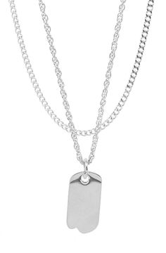 Mister Micro Tag Necklace - Chrome