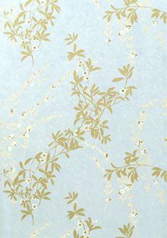 Fiona Floral Wallpaper Light Blue With Mute Gold And White Printed Design Being Made From Heavyweight Coarse Paper This Is