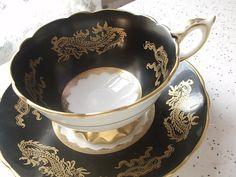 Antique gold dragons tea cup, Vintage 1950's Royal Stafford English tea set, black and gold bone china tea cup, black tea cup