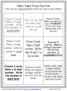 Place Value 'I Can' Cards and Choice Board