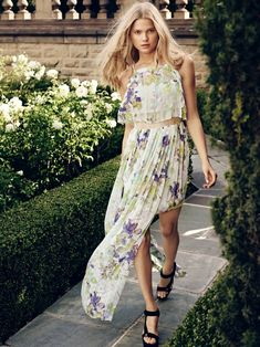 A floral print maxi dress is spotlighted in the advertisements