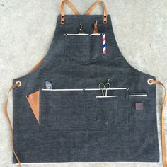 Petite size female barber apron #custommade #handcrafted #denim #barberapron…