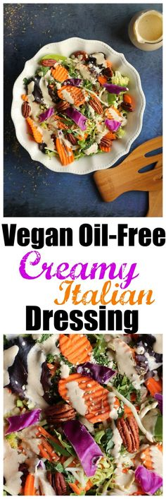 A delicious, homemade Creamy Italian Dressing that is vegan, raw, dairy-free, oil-free and soy-free! So good you will never need storebought again! Made with cashews, red wine vinegar and Italian dried herbs and ready in 5 minutes! via @thevegan8