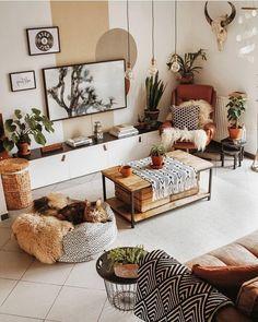 Decor Home Living Room, Bohemian Living Rooms, Chic Living Room, Living Room Pillows, Living Room Designs, Bedroom Decor, Home Decor, Deco Boheme Chic, Bohemian Interior Design