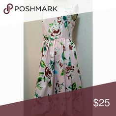 Flower & Rain Clothing dress Very classy vintage like pink dress with brown and white flower designs.  XL FLOWERS & RAIN CLOTHING Dresses