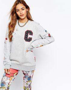 Image 1 ofCriminal Damage Oversized Boyfriend Sweatshirt With Snoopy Patch Detail