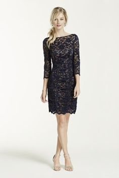 http://img.davidsbridal.com/is/image/DavidsBridalInc/EJDM5154_MNAVYNUDE_PRTY_WEB_0495_BACK.jpg.fpx?id=lhbqx0&wid=407&hei=611&fmt=jpg This all over ruched lace dress will be a stunning addition to your wardrobe!  3/4 sleeve bodice features all over delicate lace fabric.  Ruched detailing helps create a flattering silhouette.  Fully lined. Back zip. Imported polyester. Dry clean.