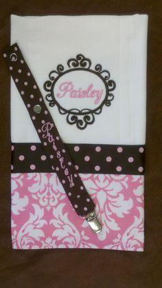 Burp Cloth & Pacifier Holder set  Brown/Pink dot ribbon  Damask Fabric
