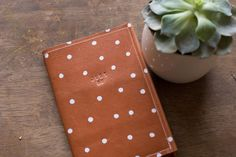 Passport Case Brown Leather Handmade Polka Dot Travel With Quote