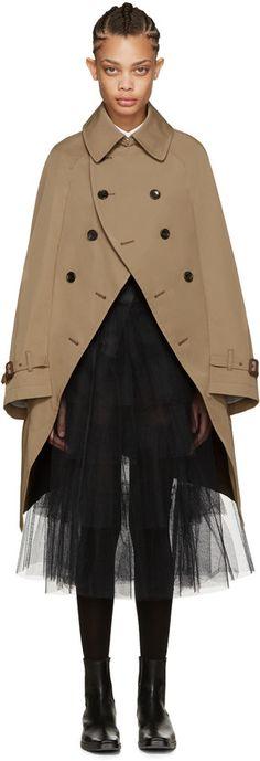Junya Watanabe Beige Cape Trench Coat