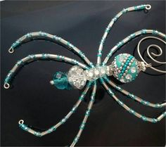 Christmas Spider  Turquoise & Silver by goosecrossingfarm on Etsy, $24.00