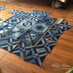 Blue Giant denim quilt pattern from upcycled jeans Denim Quilts, Denim Quilt Patterns, Blue Jean Quilts, Denim Patchwork, Bag Patterns, Artisanats Denim, Denim Rug, Denim Purse, Quilting Projects
