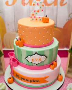Adorable Little Pumpkin Birthday Party {Fall Harvest}The Cake