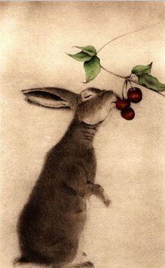 Barton, Lapin aux Cerises (Rabbit with Cherries) Watercolor Etching Art And Illustration, Illustrations, Lapin Art, Rabbit Art, Bunny Art, Oeuvre D'art, Watercolor Art, Folk Art, Art Photography