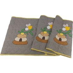 Jogo de Tapetes para Cozinha de Patch Aplique com 3 peças Modelo Colmeia