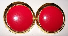 Vintage Earrings Red Thermoset Domed Circle by BrightgemsTreasures, $8.50