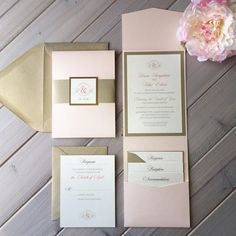Blush Pink and Light Gold Wedding Invitations, Pink, Gold and Ivory Wedding Invitations, Modern Wedding Invitations, Pocket Invitations,