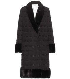 THOM BROWNE Fur-Trimmed Cashmere Coat. #thombrowne #cloth #clothing