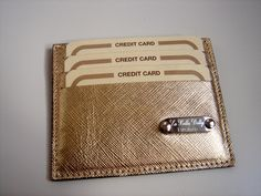 credit card holder in gold leather by La Bella Dolly Firenze