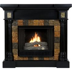 This stylish fireplace combines a sleek black finish with the earthy tones of faux slate tiles