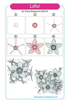 July 2017 laflor tangle pattern -by-elena-babayants Zentangle Drawings, Doodles Zentangles, Zentangle Patterns, Doodle Drawings, Doodle Art, Zen Doodle Patterns, Doodle Borders, Tangle Doodle, Tangle Art