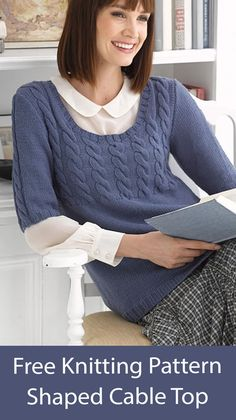 Free knitting pattern for Pullover sweater top with elbow length sleeves worked flat with cables on front and sleeves. Sizes Finished Bust 37 (41, 45, 49, 53) in. (94 (104, 114.5, 124.5, 134.5) cm). DK yarn. Designed by Lion Brand. Cable Knit Sweaters, Pullover Sweaters, Jumper, Sweater Knitting Patterns, Free Knitting, Work Flats, Lion Brand, Knitting Projects, Free Pattern