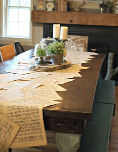 Sheet Music Table Runner. How cool is this?! I want one for my house!