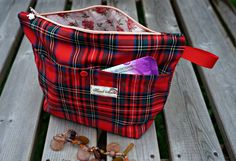 Red Plaid Makeup Bag - Red Check Extra Large Cosmetic Bag - New Red Plaid Extra Large Toiletry Bag - Red Tartan Zipper Pouch by theWatermelonDesign on Etsy