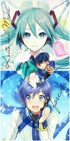 Miku × Kaito Vocaloid Funny, Vocaloid, Vocaloid Kaito, Kawaii, Miku, Art, Kawaii Anime, Japanese Anime, Manga