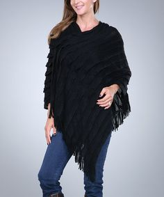 Another great find on #zulily! Black Tier Poncho by Ananda's Collection #zulilyfinds