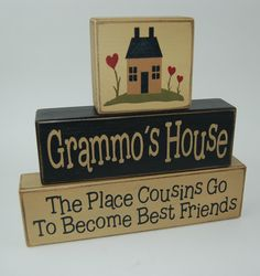 Grandma's House - The Place Cousins Go To Become Best Friends - Primitive Country Wood Stacking Sign Blocks-Mother's Day-Birthday Gift For Mother's-Grandma's-Grandparents Home Decor. Darling set for your grandparents house! The middle block is personalized so I can have it say anything you would like. Colors used on the first set are old cream and black. Second set are old cream and brown. You are welcome to choose your own colors to match your decor at no additional charge. Measurements…