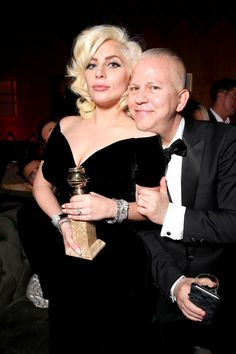 Globe winner Lady Gaga posed with American Horror Story creator Ryan Murphy at the FOX afterparty. See more Golden Globes afterparty pics here!