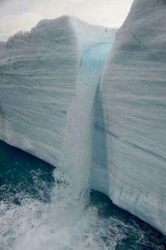 Glacial Waterfall Slavbard Norway