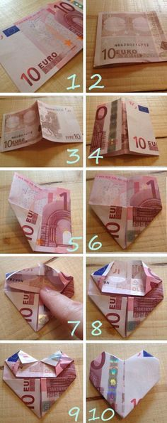 Hartje-vouwen-van-geld – Origami Community : Explore the best and the most trending origami Ideas and easy origami Tutorial Homemade Gifts, Diy Gifts, Best Gifts, Don D'argent, Folding Money, Diy And Crafts, Paper Crafts, Graduation Gifts, Graduation Parties