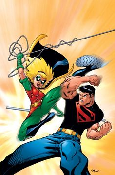 Robin (Stephanie Brown) vs Superboy by Ed McGuinness