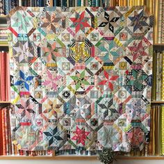 Introducing my new quilt 'Bella Ruby' - just love this quilt so much, it has favourite fabric from friends, special vintage pieces and lots of new fabric from the store!!  Onto the hand quilting...  #treehousetextiles #bellarubyquilt #stars #octagons #fabricfromfriends #loveit #vintage #mynewfavourite