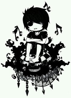 this is randomly cool emo💀💔✖🎧🎶🥀 Anime Chibi, Manga Anime, Anime Art, Gothic Drawings, Scary Drawings, Amazing Drawings, Creepy Pictures, Pictures To Draw, Art Pictures
