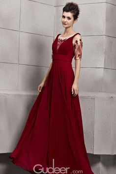 sequinned short sleeves illusion neck ruby long chiffon evening dress