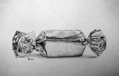 Brian s Notebook: Wrapped candy Sweet Drawings, Art Drawings Sketches Simple, Pencil Art Drawings, Realistic Drawings, Still Life Sketch, Still Life Drawing, Sweets Art, Candy Drawing, Gcse Art Sketchbook