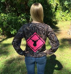 Women's Deer Crossing Series Camo Performance Long Sleeve Shirt from Country Shore | http://countryshoreoutfitters.com/products/womens-deer-crossing-series-camo-performance-long-sleeve-shirt