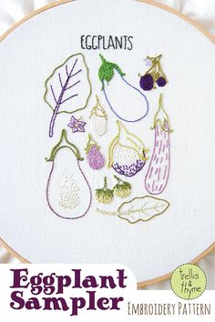 PDF Embroidery Pattern  Eggplant Botanical by sosaecaetano on Etsy