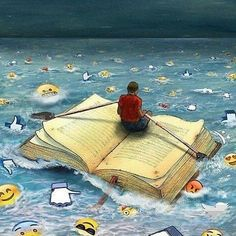 The magic of books - - Pictures With Deep Meaning, Satirical Illustrations, Meaningful Pictures, Deep Art, Reading Art, Book Images, I Love Books, Surreal Art, Cartoon Art